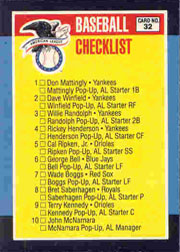 1988 Donruss All-Stars Baseball Cards  032      AL Checklist UER