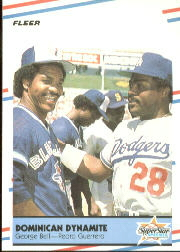1988 Fleer Baseball Cards      623     Dominican Dynamite#{George Bell#{Pedro Guerrero