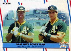 1988 Fleer Baseball Cards      624     Mark McGwire/Jose Canseco