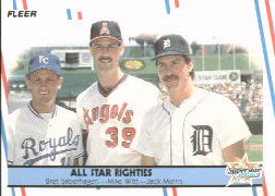 1988 Fleer Baseball Cards      626     All Star Righties#{Bret Saberhagen#{Mike Witt#{Jac