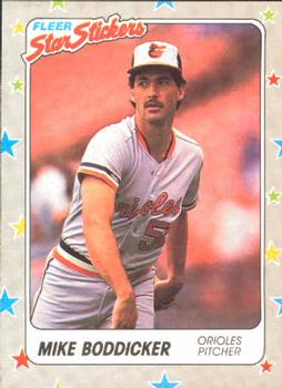 1988 Fleer Sticker Baseball Cards        001      Mike Boddicker