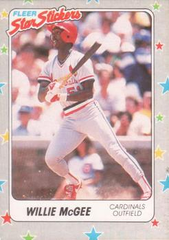 1988 Fleer Sticker Baseball Cards        118     Willie McGee