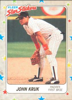 1988 Fleer Sticker Baseball Cards        124     John Kruk