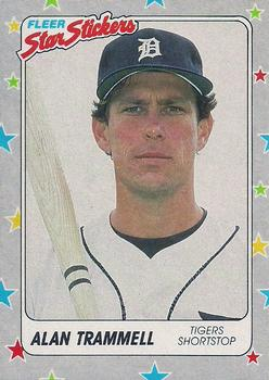 1988 Fleer Sticker Baseball Cards        029      Alan Trammell