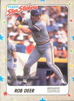 1988 Fleer Sticker Baseball Cards        036      Rob Deer