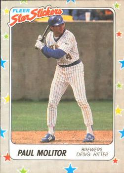 1988 Fleer Sticker Baseball Cards        038      Paul Molitor