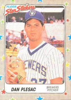 1988 Fleer Sticker Baseball Cards        039      Dan Plesac