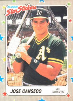 1988 Fleer Sticker Baseball Cards        054      Jose Canseco