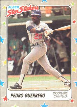 1988 Fleer Sticker Baseball Cards        091      Pedro Guerrero