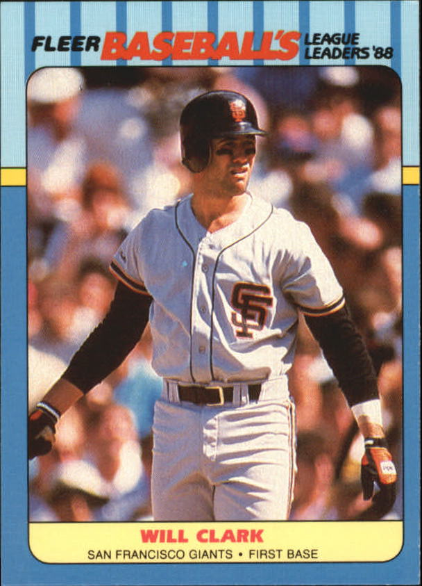 1988 Fleer League Leaders Baseball Cards       005      Will Clark