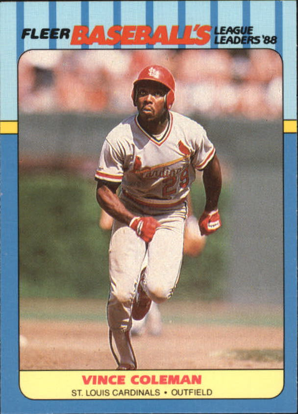 1988 Fleer League Leaders Baseball Cards       007      Vince Coleman