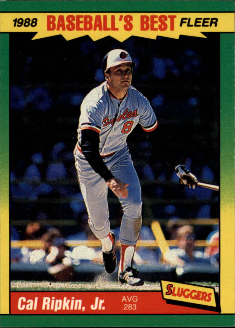 1988 Fleer Sluggers/Pitchers Baseball Cards    034      Cal Ripken UER#{(Misspelled Ripkin#{on card front)