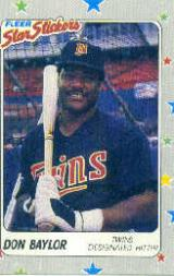 1988 Fleer Stickers Wax Box Baseball Cards       S6      Don Baylor