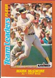 1988 Fleer Team Leaders Baseball Cards 021      Mark McGwire