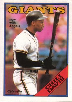 1988 O-Pee-Chee Baseball Cards 015      Chili Davis#{Now with Angels