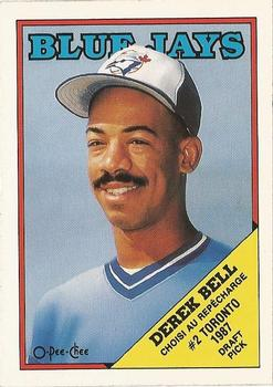 1988 O-Pee-Chee Baseball Cards 311     Derek Bell XRC#{Blue Jays  second#{draft choice