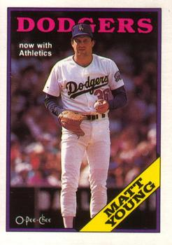1988 O-Pee-Chee Baseball Cards 367     Matt Young#{Now with A s