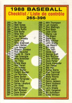 1988 O-Pee-Chee Baseball Cards 374     Checklist 265-396