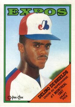 1988 O-Pee-Chee Baseball Cards 088      Delino DeShields XRC#{Expos  first#{draft choice